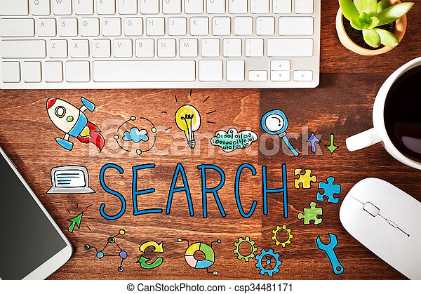 Buscar concepto con estación de trabajo - csp34481171
