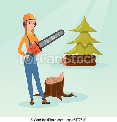 B cheron vecteur tron onneuse illustration vecteur plat dur tenue couteurs chainsaw - Coloriage tronconneuse ...