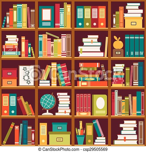Bücherregal clipart  Bücherregal, books., seamless, hintergrund. Bookshelves., muster ...