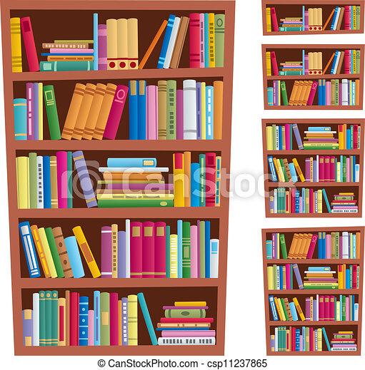 Bücherregal clipart  Verschieden, nein, versions., abbildung, karikatur, (linear), 5 ...