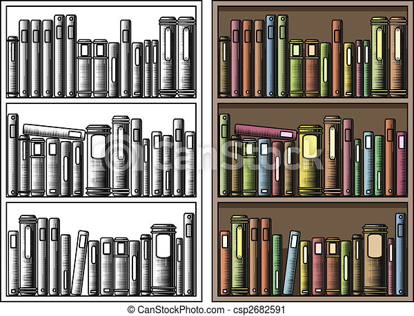 Bücherregal clipart schwarz weiß  Alles, bücherregal, getrennt, editable, abbildung, vektor, buecher ...
