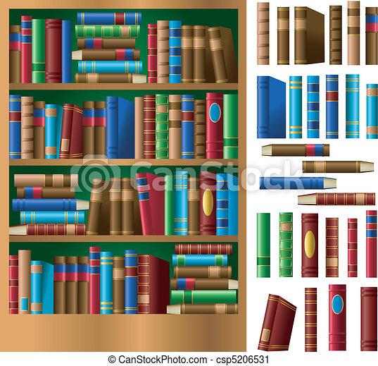 Bücherregal clipart  Bücherregal. Voll, individuum, regal, books., rückgrat, auch, eigen ...