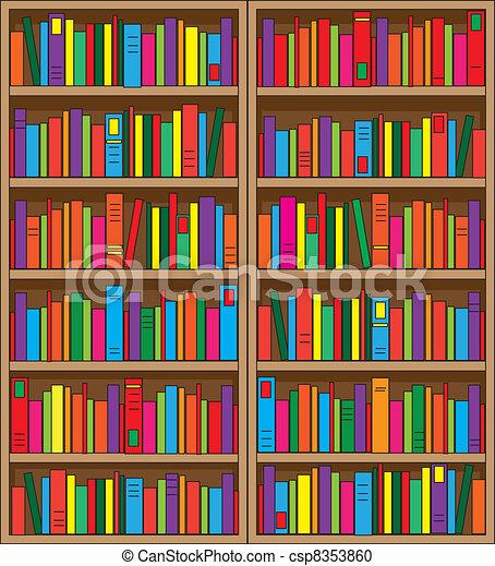 Bücherregal clipart schwarz weiß  Reisekoffer, multi gefärbt, doppelgänger, books., groß, bände ...