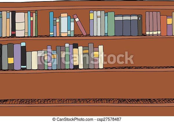 Bücherregal gezeichnet  Vektor von bücherregal, voll, hälfte - Hand, gezeichnet, karikatur ...