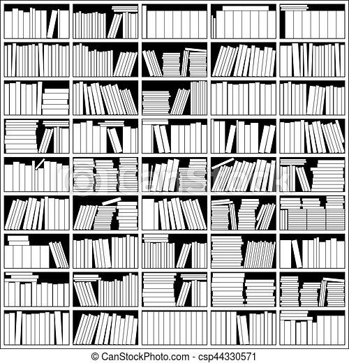 Bücherregal clipart schwarz weiß  Bücherregal, weißes, schwarz. Bücherregal, weißes, vektor, schwarz ...
