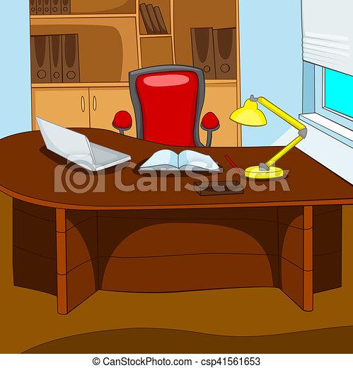 Buro Karikatur Hintergrund Arbeitsplatz Geschaftsburo
