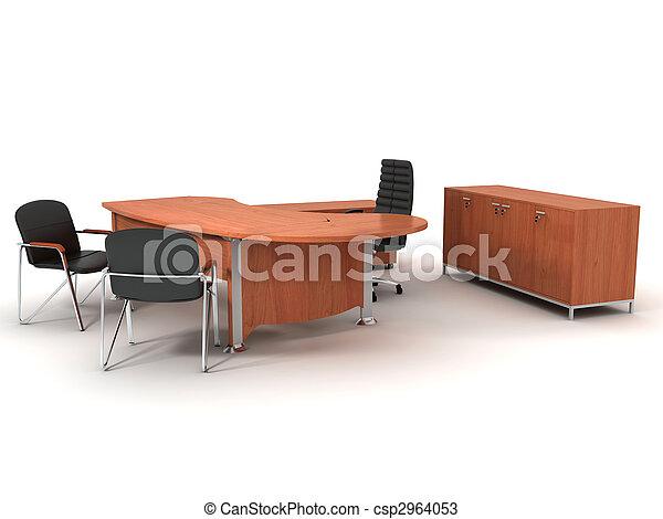 Büromöbel. Satz, buero, freigestellt, hintergrund, weißes ...