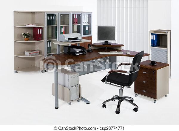 Büromöbel. Weißes, buero, hintergrund, möbel Stock Illustrationen ...
