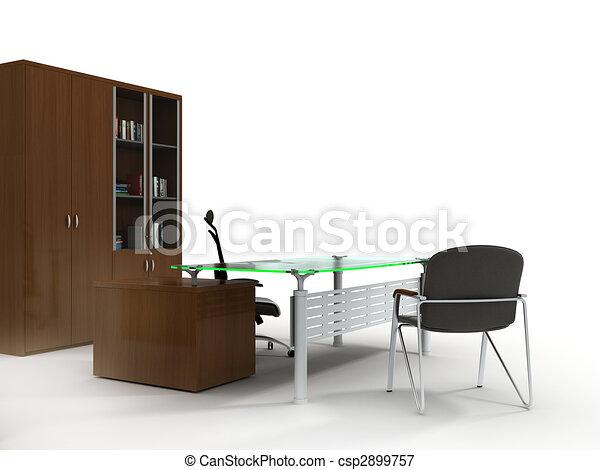 Büromöbel. Satz, buero, freigestellt, hintergrund, weißes,... Stock ...