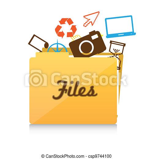 büroordner, datei, ikone - csp9744100