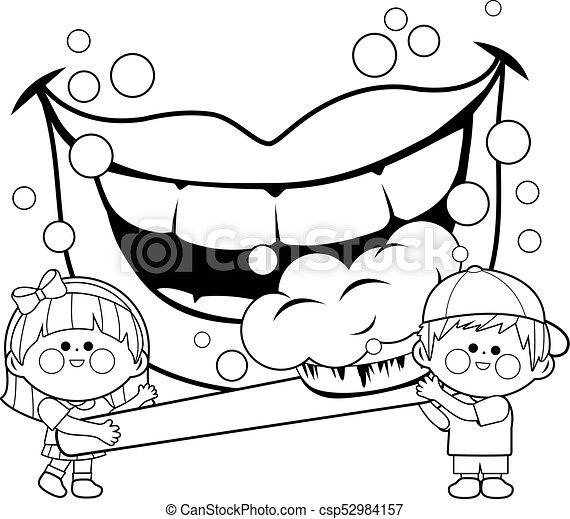 Bürsten, färbung, kinder, zahnbürste, buch, besitz, seite, teeth ...
