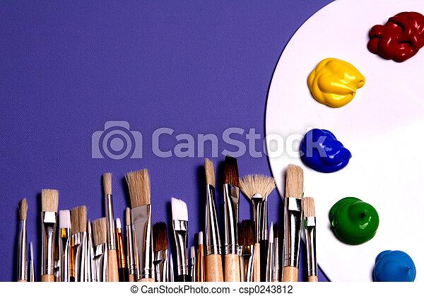 bürsten, palette, kunst, künstler, farben, symbolisch, farbe - csp0243812