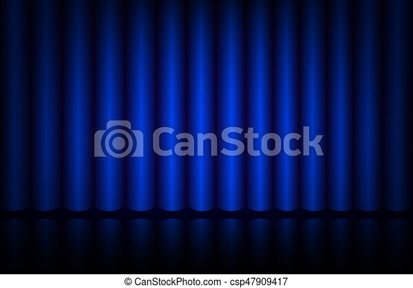 błękitna firanka, teatr, rusztowanie - csp47909417