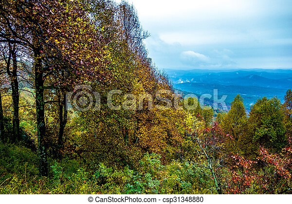 błękitne góry, grzbiet, napędowy, narodowy park, przez - csp31348880