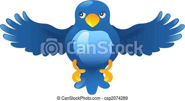 błękitny, świergot, ing, ptak, ikona - csp2074289