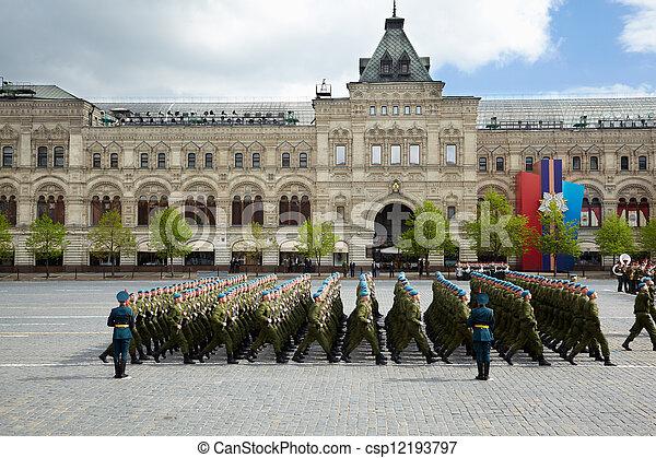 błękitny, 2011, skwer, 9, marsze, rosja, może, nazwa, moskwa, -, dzień, airborne, moskwa, 9:, zwycięstwo, russia., forces., baskijki, sub-unit, czerwony, celebrowanie - csp12193797