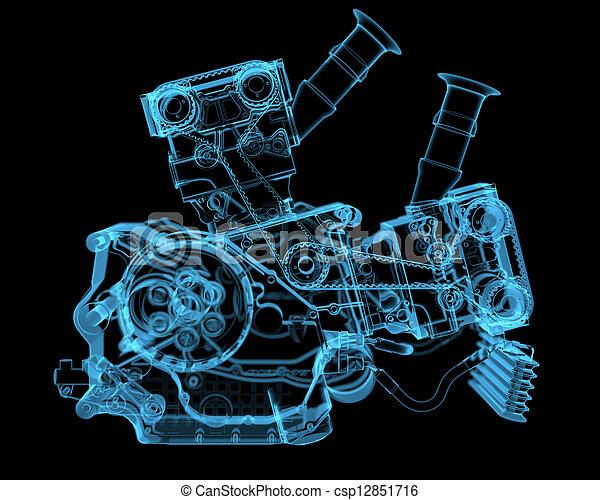 błękitny, (3d, transparent), xray, pojazd silnikowy - csp12851716