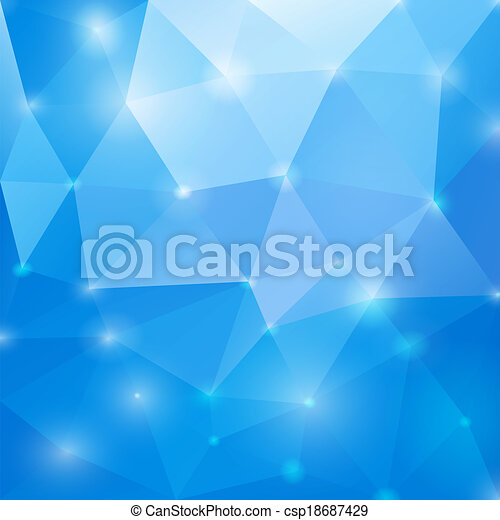 błękitny, abstrakcyjny, eps10., polygonal, tło., wektor - csp18687429