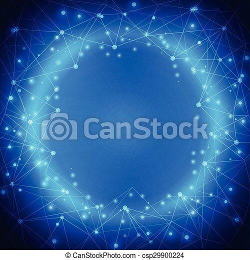 błękitny, abstrakcyjny, ilustracja, koła, wektor, tło, technologia, oczko - csp29900224