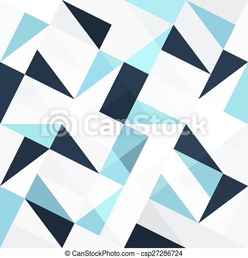 błękitny, abstrakcyjny, triangle, seamless, tło - csp27286724