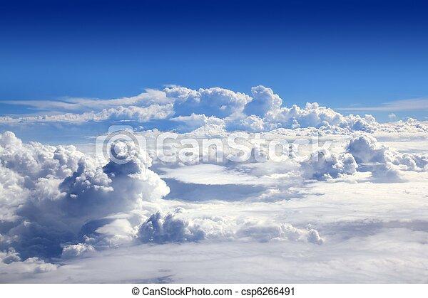 błękitny, chmury, niebo, wysoki, samolot, prospekt - csp6266491