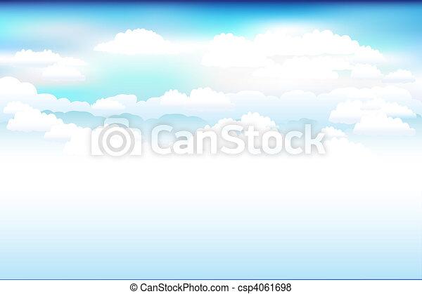 błękitny, chmury, wektor, niebo - csp4061698