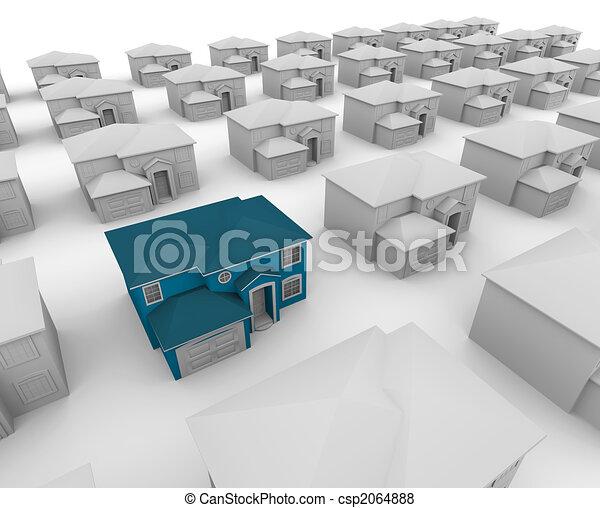 błękitny, dużo, jeden, domy, dom, biały - csp2064888