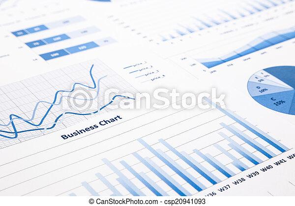 błękitny, handlowy, wykresy, informuje, wykresy, statystyczny - csp20941093