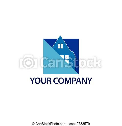 błękitny, house., format, dom, abstrakcyjny, -, ilustracja, wektor, logo - csp49788579