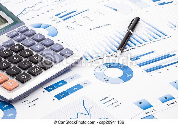błękitny, informacja, handlowy, wykresy, informuje, wykresy - csp20941136