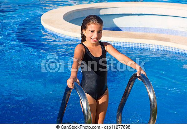 błękitny, kostium kąpielowy, czarna dziewczyna, schody, dzieci, kałuża - csp11277898