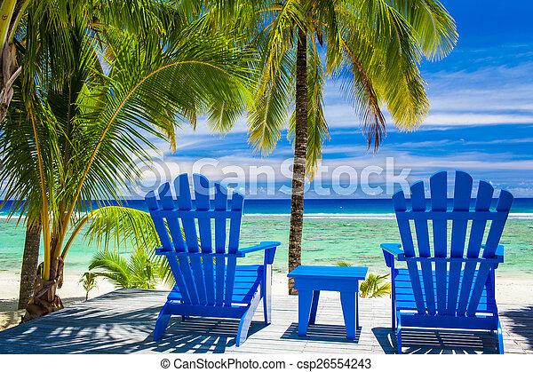 błękitny, krzesła, zdumiewający, plażowy przód - csp26554243