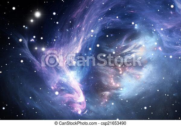 błękitny, mgławica, przestrzeń - csp21653490
