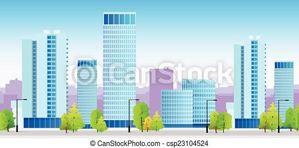 błękitny, miasto, profile na tle nieba, gmach, ilustracja, architektura, cityscape - csp23104524