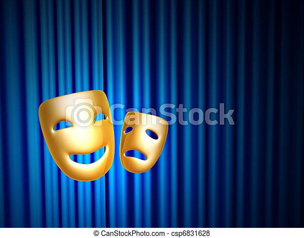 błękitny, na, maski, kurtyna, komedia, tragedia - csp6831628