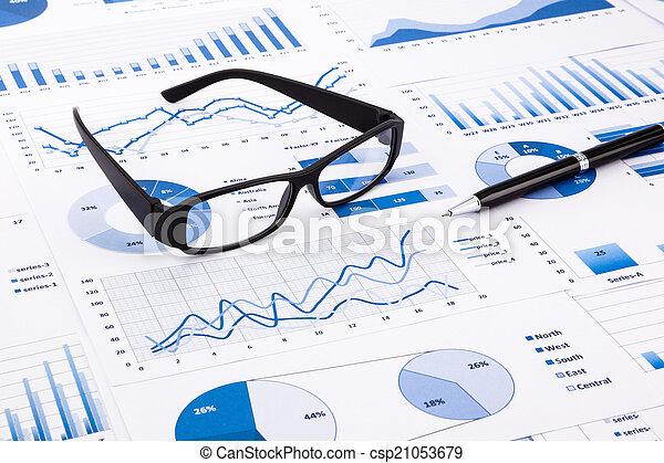 błękitny, paperwork, handlowy, wykresy, wykresy, dokument - csp21053679