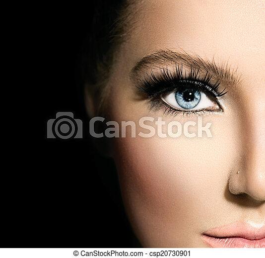 błękitny, piękny, piękno, makijaż, twarz, część, closeup, eyes. - csp20730901