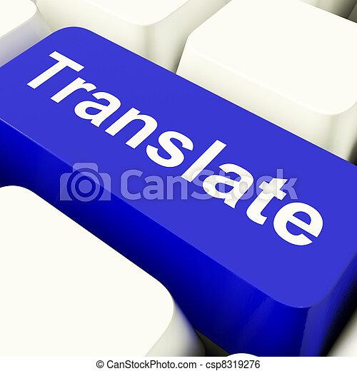 błękitny, pokaz, translator, komputerowy klucz, online, tłumaczyć - csp8319276