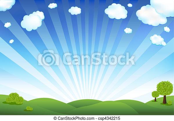błękitny, pole, zielone niebo - csp4342215