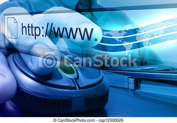błękitny, rewizja, mysz, internet - csp12300626