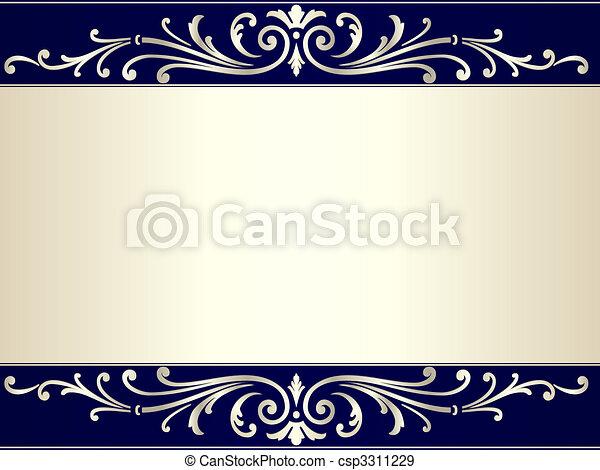 błękitny, rocznik wina, woluta, beżowe tło, srebro - csp3311229
