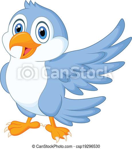 błękitny, sprytny, falować, ptak, rysunek - csp19296530