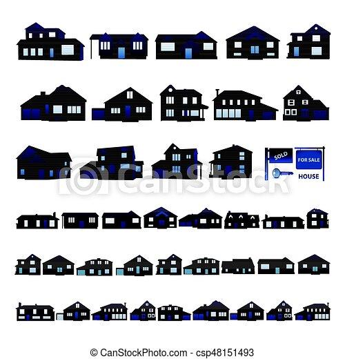 błękitny, sylwetka, mieszkaniowy, odizolowany, dom, biały - csp48151493