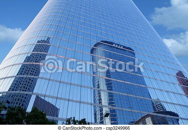 błękitny, zabudowanie, szkło, drapacz chmur, lustro, front - csp3249966
