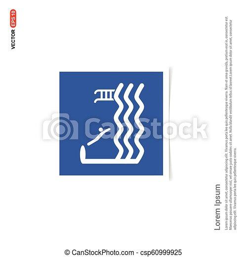 błękitny, zdejmować budowę, -, pływacki, ikona - csp60999925