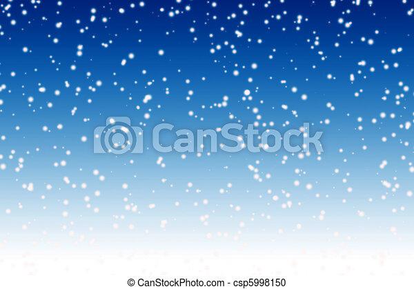 błękitny, zima, na, niebo, śnieg, tło, noc, spadanie - csp5998150
