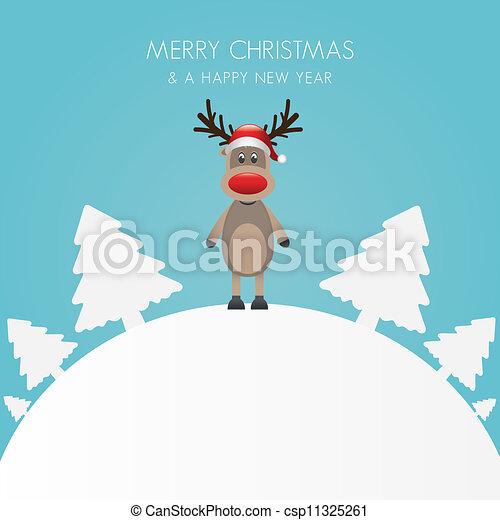 b, árvore, rena, chapéu branco, natal - csp11325261