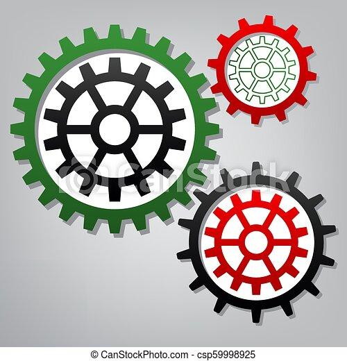 b betű, bekapcsol, ikonok, cégtábla., grayish, három, összekapcsolt, fogaskerék-áttétel, vector. - csp59998925