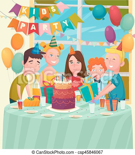 B Day Party Children Composition Kids Birthday Party Background