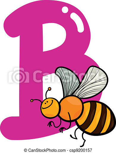 b for bee cartoon illustration of b letter for bee